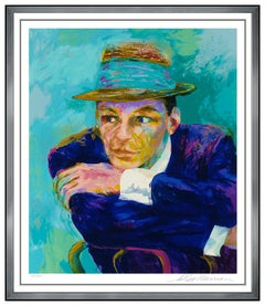 LeRoy Neiman Large Color Serigraph Frank Sinatra The Voice Signed Blue Eyes Art