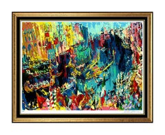 LeRoy Neiman Large Color Serigraph Hand Signed Regatta Of The Gondoliers Sports