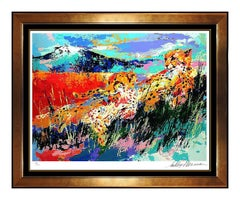 LeRoy Neiman Large Color Serigraph Kilimanjaro Cheetahs Hand Signed Artwork SBO
