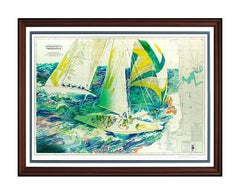 LeRoy Neiman Large Color Serigraph The Americas Cup Sailing Hand Signed Artwork
