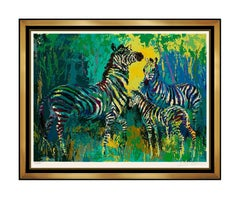 LeRoy Neiman Large Color Serigraph Zebra Family Hand Signed Animal Jungle Art