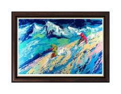 LeRoy Neiman Large Downers Hand Signed Color Serigraph Snow Skiing Sports Art