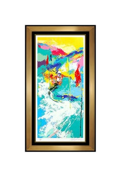 LeRoy Neiman Large Downhill Hand Signed Color Serigraph Snow Skiing Sports Art