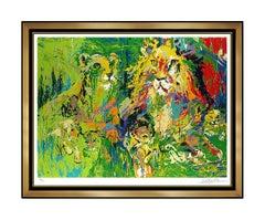 LeRoy Neiman Lion Family Color Serigraph Large Hand Signed Big Cat Safari Art