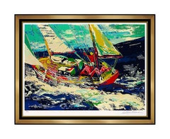 LeRoy NEIMAN North Seas Sailing Large Color Serigraph Hand Signed Sports Artwork