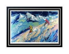 LeRoy Neiman Original Color Serigraph Downhill Snow Skiing Signed Large Artwork