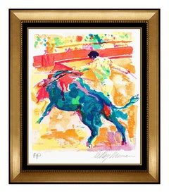 LeRoy Neiman Original Color Serigraph Hand Signed Bull Fight Matador Sports Art