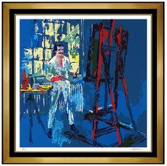 LeRoy Neiman Original Color Serigraph Hand Signed Self Portrait Framed Artwork