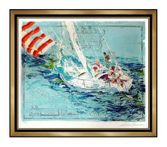 LeRoy Neiman Original Color Serigraph Nantucket Sailing Hand Signed Art Painting