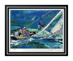 LeRoy Neiman Original Color Serigraph Signed Sports Sailing Artwork Painting SBO