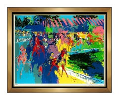 LeRoy NEIMAN Original Saratoga Horse Racing Color Serigraph Signed Large Artwork