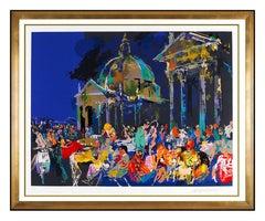 LeRoy Neiman Piazza Del Poppolo Original Color Serigraph Large Signed Bar Cafe