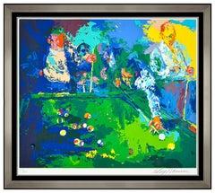 LeRoy Neiman Pool Room Color Serigraph Hand Signed Billiards Bar Framed Artwork