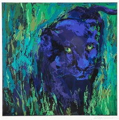 "Leroy Neiman ""Portrait of Black Panther"" Exotic black jungle cat HS/# serigraph"