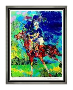 LeRoy Neiman Prince Charles Princess Diana Large Serigraph Signed Polo Horse Art