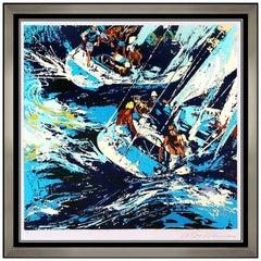 LeRoy Neiman RARE Two Twelves Sailing Color Serigraph Hand Signed Framed Artwork