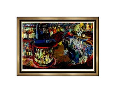 LeRoy Neiman Rush Street Bar Scene Large Color Serigraph Signed Artwork Painting