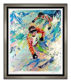 LeRoy Neiman Skiing Twins Mahre Color Serigraph Large Signed Original Artwork