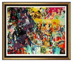 LeRoy Neiman Toots Shor Bar Original Color Serigraph Hand Signed Large Art Scene