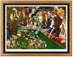 LeRoy Neiman Vegas Craps Original Color Serigraph Hand Signed Large Framed Art