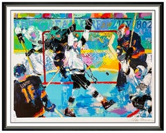 LeRoy Neiman Wayne Gretzky Goal Sports Serigraph Signed Hockey Kings Large Art