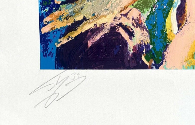Artist: Leroy Neiman (1898-1976) Title: Shaq (Shaquille O'Neal / Los Angeles Lakers) Year: 2000 Medium: Silkscreen on Arches paper Edition: 410, plus proofs Size: 47 x 32 inches Condition: Excellent Inscription: Signed and numbered by the artist;