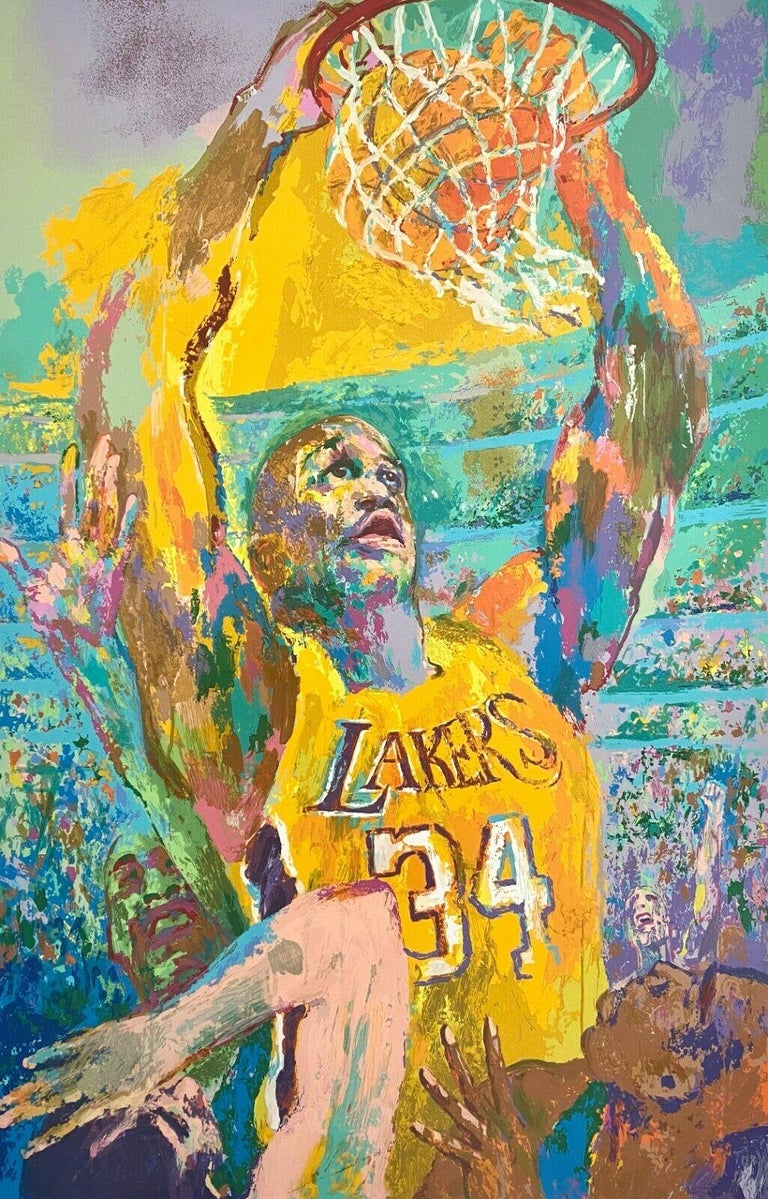 Leroy Neiman Landscape Print - Shaq (Shaquille O'Neal / Los Angeles Lakers)