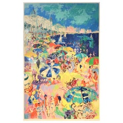 "Leroy Neiman Serigraph ""Beach at Cannes"", French, Riviera, circa 1979"