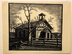 "c.1940s LeRoy Sauer ""Deserted"" Landscape Linocut"