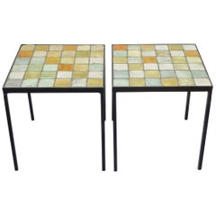Les 2 Potiers French Ceramic Tile Pair of Side End or Small Coffee Tables