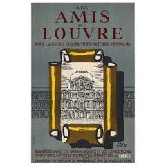 """""""Les Amis du Louvre"""" by Paul Colin Original Vintage Poster"""