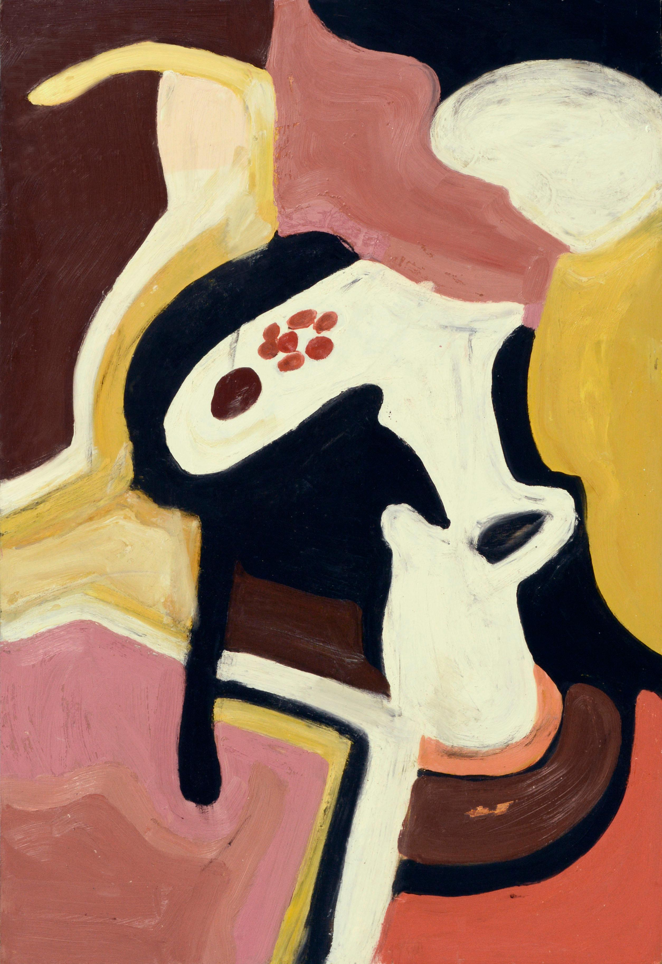 Pink & Yellow Figurative Abstract 1968