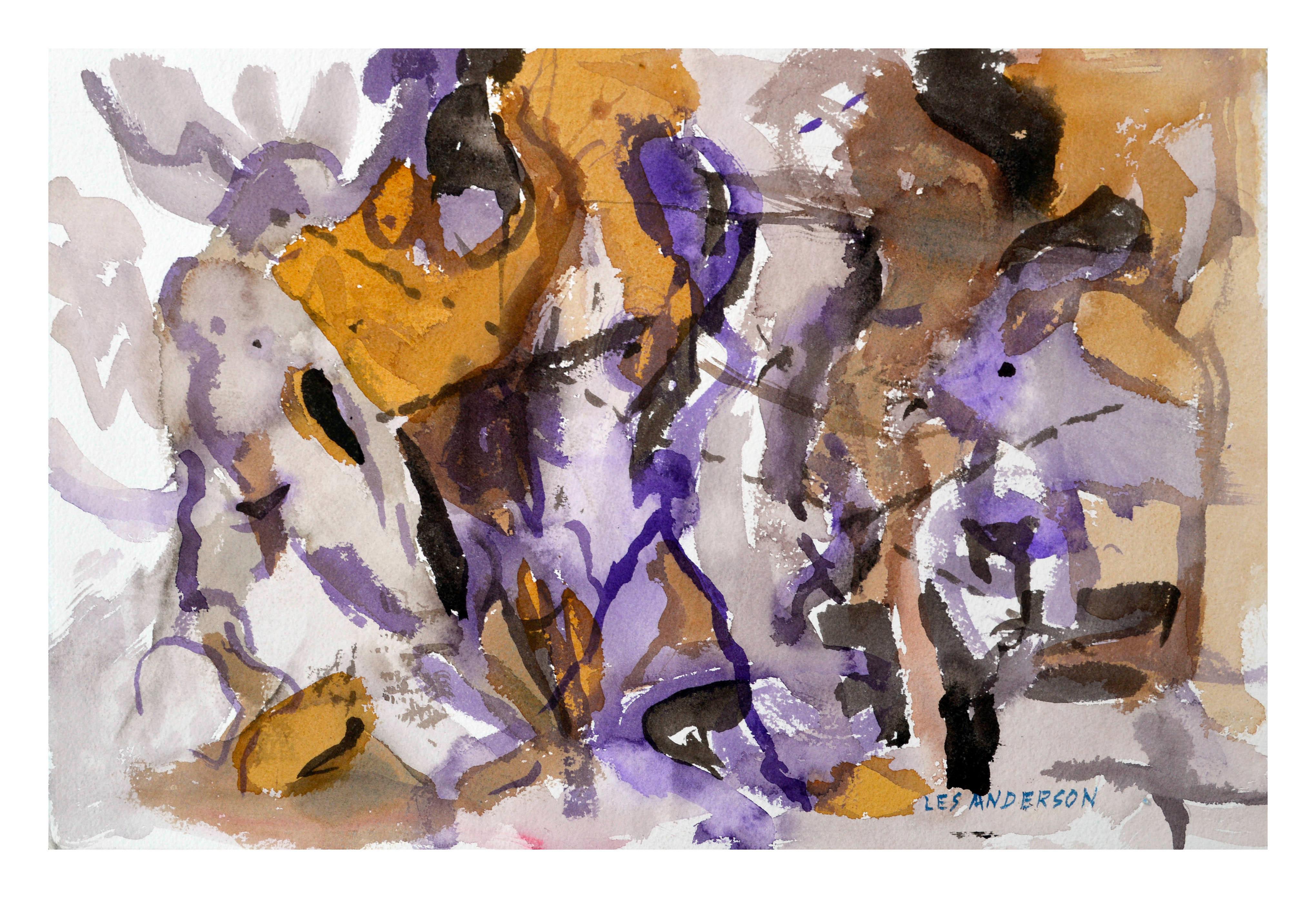 Purple & Ocher Abstract