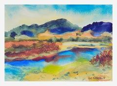 Tranquil Lake Watercolor Landscape