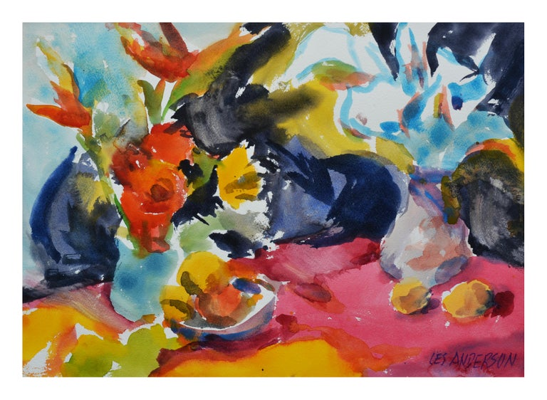 Vibrant Floral Still Life with Red Table - Painting by Les Anderson