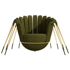 Les Araignée Armchair by Marc Ange with Golden Legs and Green Velvet Upholstery