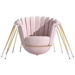 Les Araignée Armchair by Marc Ange with Golden Legs and Powder Pink Upholstery