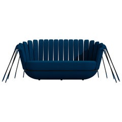 Les Araignée Sofa by Marc Ange with Glossy Black Legs and Blue Velvet Upholstery