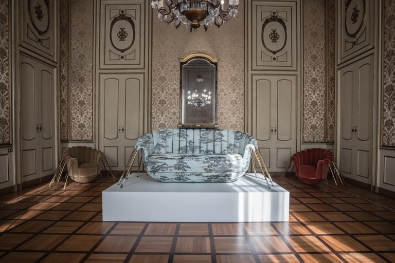 Contemporary Les Araignée Sofa by Marc Ange with Gold Metal Legs and Green Velvet Upholstery For Sale