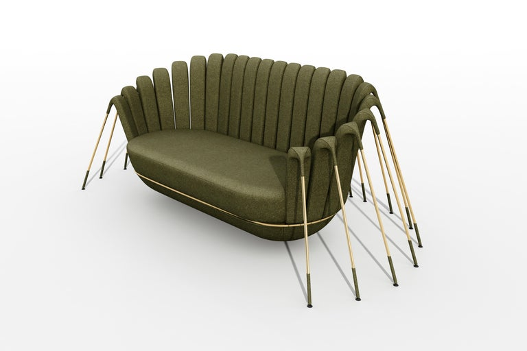 Italian Les Araignée Sofa by Marc Ange with Gold Metal Legs and Green Velvet Upholstery For Sale