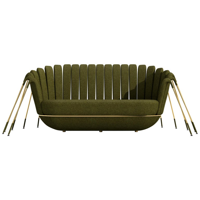 Les Araignée Sofa by Marc Ange with Gold Metal Legs and Green Velvet Upholstery For Sale