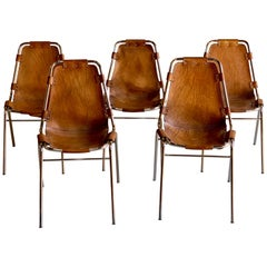 Les Arcs Dining Chairs Leather, Set of Five, 1960s
