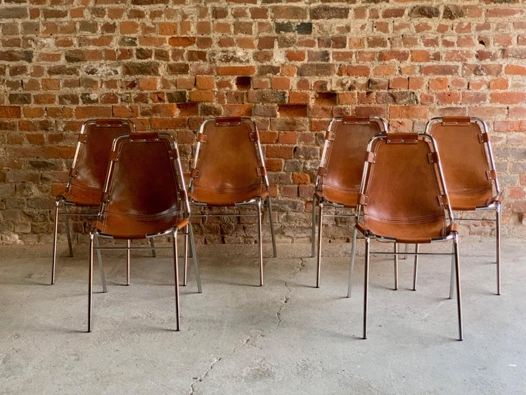 Les Arcs Dining Chairs Leather, Set of Six, 1960s For Sale 4
