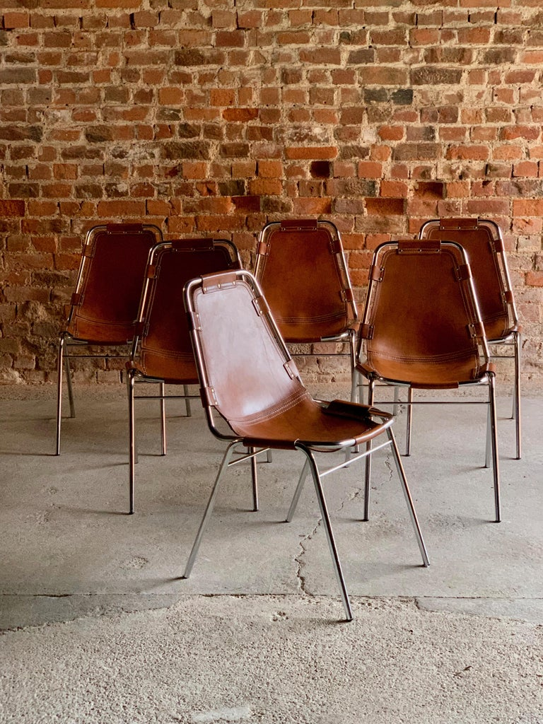 Les Arcs Dining Chairs Leather, Set of Six, 1960s For Sale 5