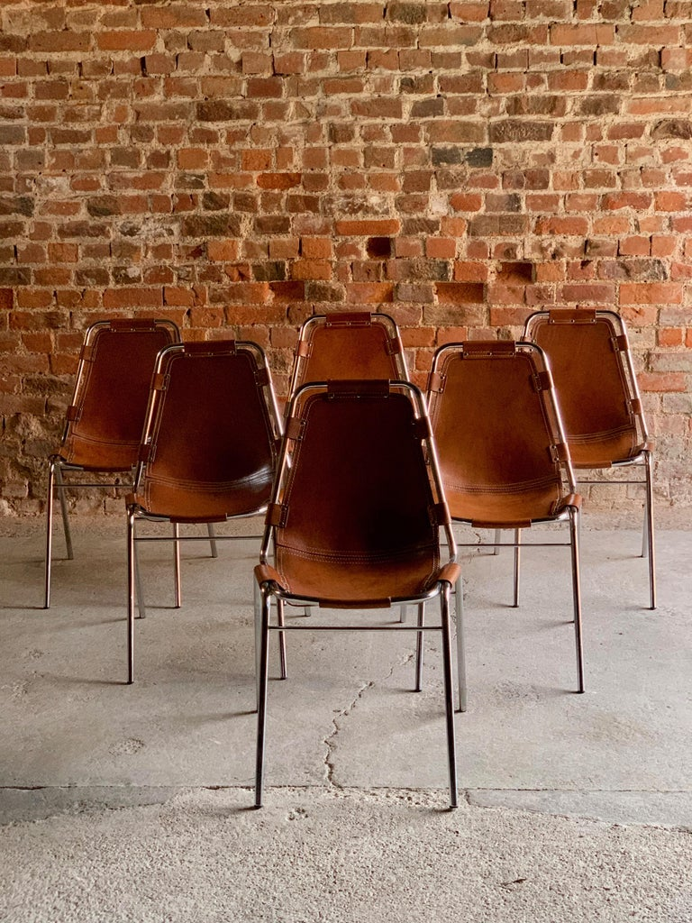Les Arcs Dining Chairs Leather, Set of Six, 1960s For Sale 6