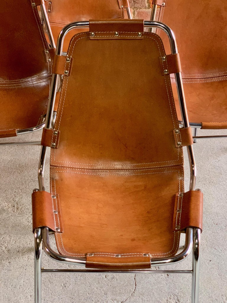 Mid-Century Modern Les Arcs Dining Chairs Leather, Set of Six, 1960s For Sale