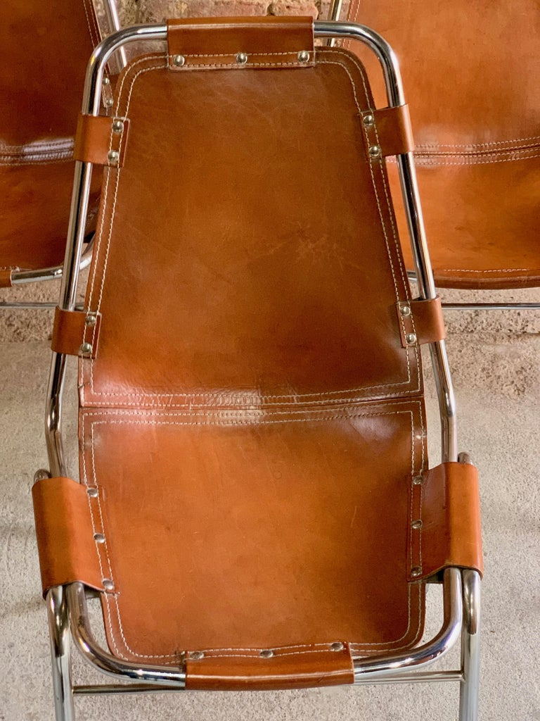 Italian Les Arcs Dining Chairs Leather, Set of Six, 1960s For Sale