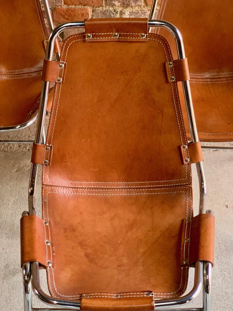 Les Arcs Dining Chairs Leather, Set of Six, 1960s In Excellent Condition For Sale In Longdon, Tewkesbury