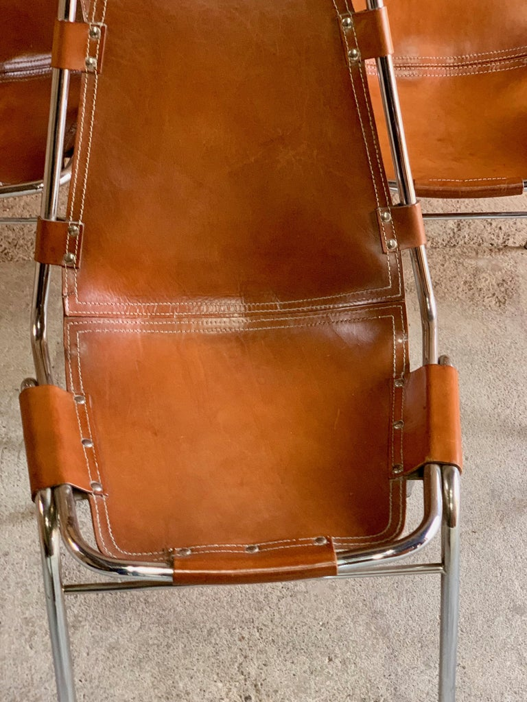 Mid-20th Century Les Arcs Dining Chairs Leather, Set of Six, 1960s For Sale