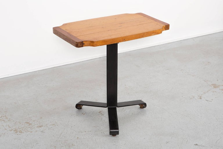 """Occasional - cafe table  designed by Charlotte Perriand for Les Arcs  France, circa 1960s  wood + metal  Measures: 25 15/16"""" H x 27 7/16"""" W x 16 5/8"""" D."""